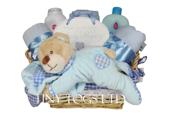 Baby Boy Gift Basket Hamper with a Cute Sleeping Teddy - Tiny Togs Ltd