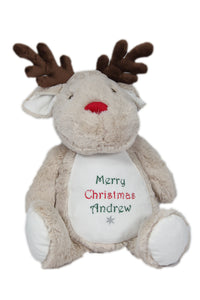 Personalised Christmas Mumbles Soft Plush Reindeer - Tiny Togs Ltd