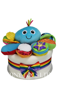 One Tier Neural Nappy Cake with Lamaze Octopus Activity Toy - Tiny Togs Ltd