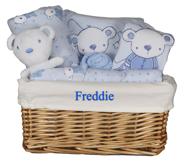 Personalised Newborn Baby Boy Gift Basket Hamper with 6 Piece Layette and Cute Teddy  … - Tiny Togs Ltd
