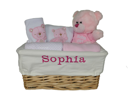 Personalised Newborn Baby Girl Gift Basket Hamper with 8 Piece Layette and Cute Teddy - Tiny Togs Ltd