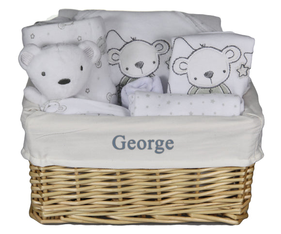 Personalised Unisex Newborn Baby Boy Girl Gift Basket Hamper with 6 Piece Layette and Cute Teddy - Tiny Togs Ltd