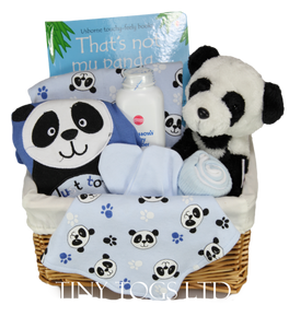 Baby Boy Gift Basket Hamper with a 5 Piece Layette set and a Cute Panda Soft Toy & Book - Tiny Togs Ltd