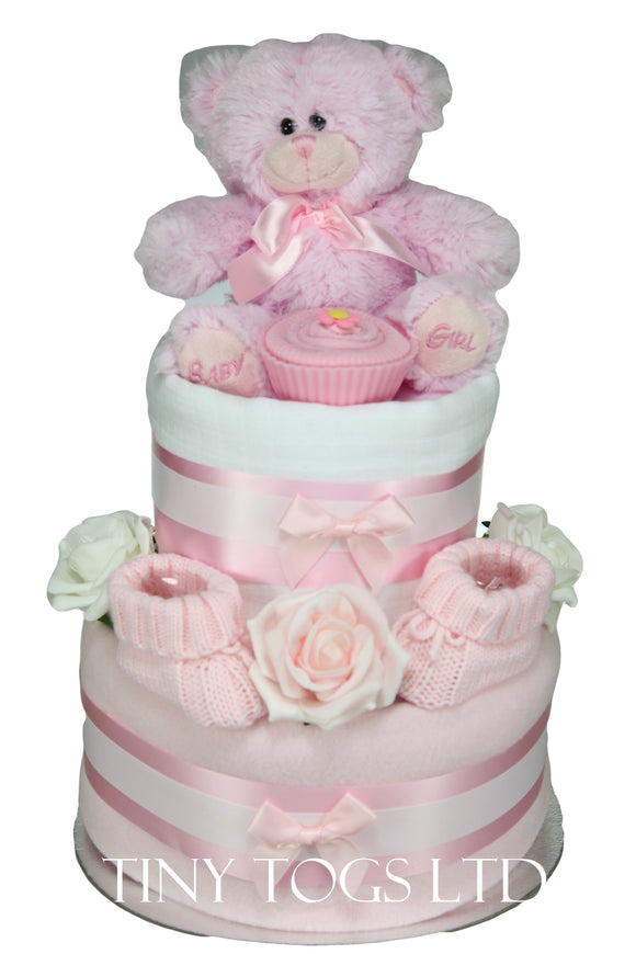 Baby Girl Two Tier Nappy Cake in Pink - Tiny Togs Ltd