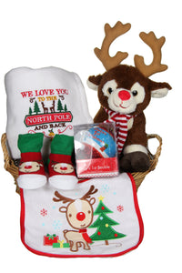 My First Christmas Basket With Cute Plush Reindeer - Tiny Togs Ltd
