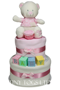 Cute Two Tier Nappy Cake for Baby Girl with Baby Building Blocks - Tiny Togs Ltd