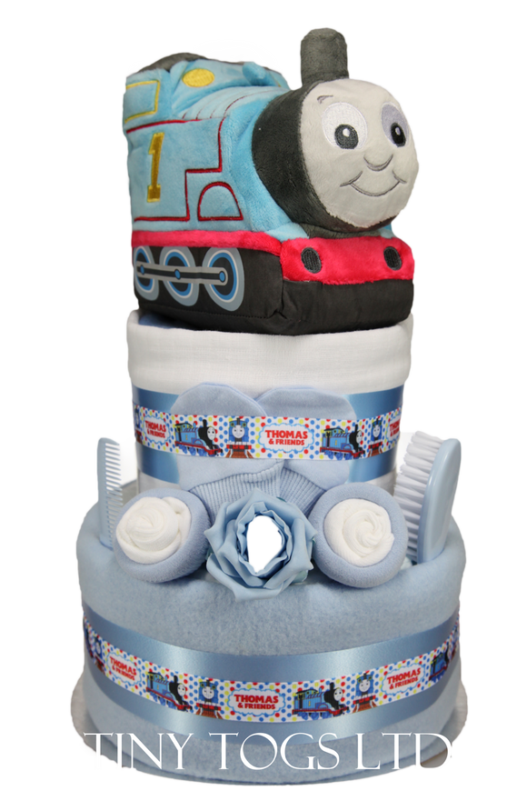 Thomas The Tank Engine 2 Tier Baby Boy Nappy Cake with My First Thomas the Tank Engine Toy - Tiny Togs Ltd