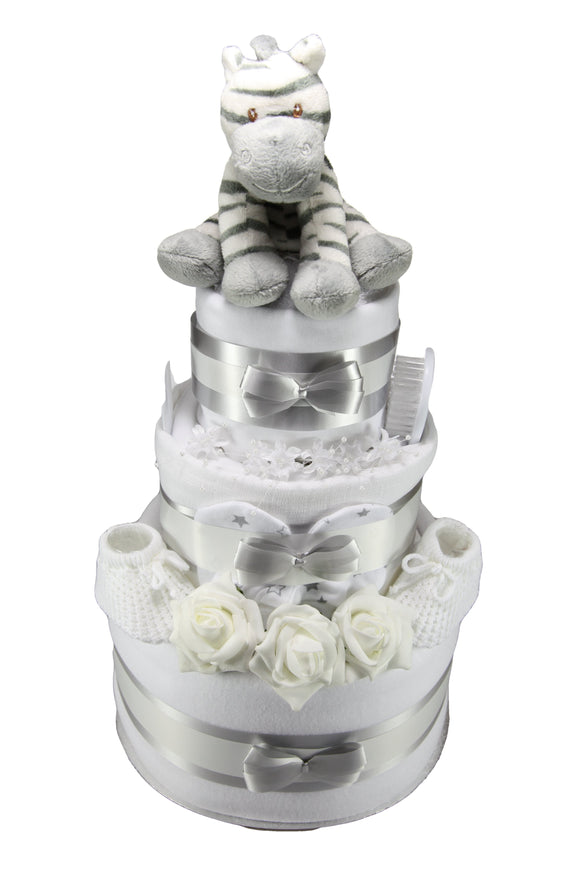 Unisex 3 Tier Nappy Cake With Cute Zebra - Tiny Togs Ltd