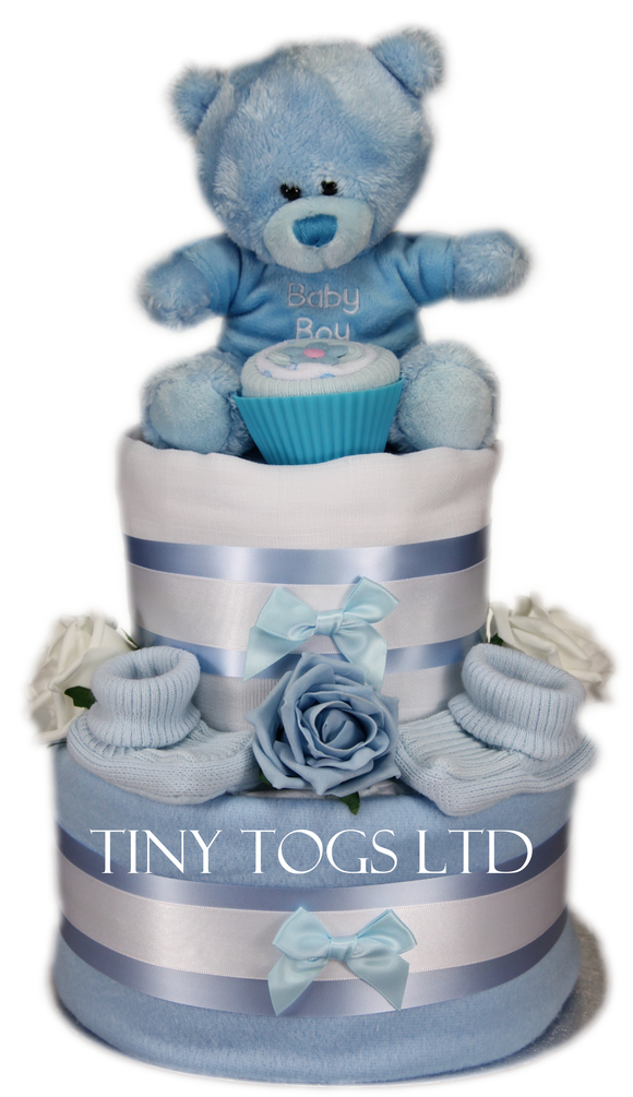 Baby Boy Two Tier Nappy Cake in Blue - Tiny Togs Ltd