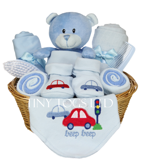 Handmade Newborn Baby Boy Gift Basket with Cute Teddy - Tiny Togs Ltd