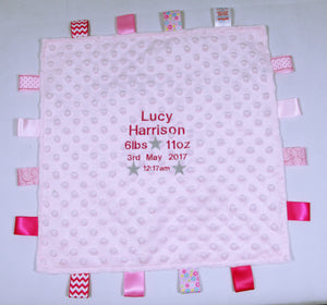 Personalised Embroidered Pink or Blue Dimple Comforter Tags Blanket with Birth Block New Born Baby Gift - Tiny Togs Ltd