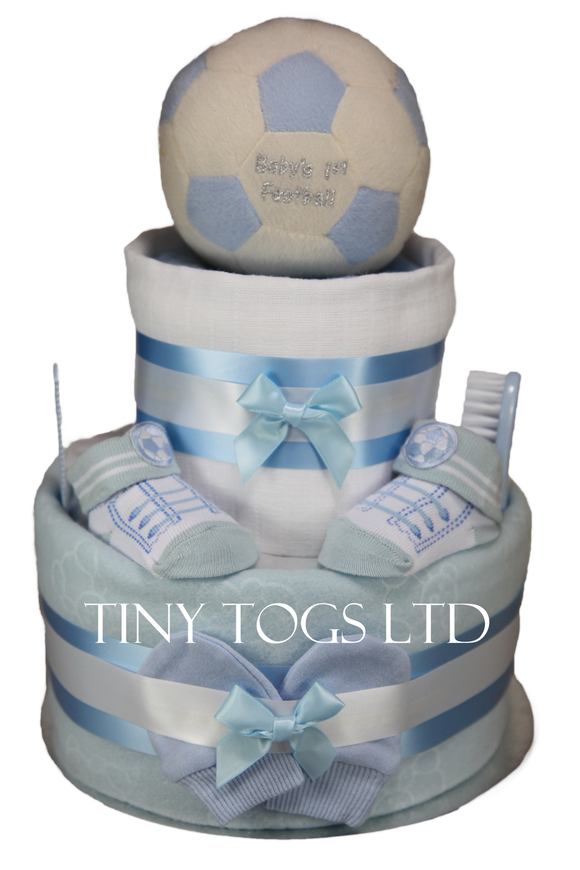 Baby Boy Two Tier Nappy Cake with My First Football - Tiny Togs Ltd