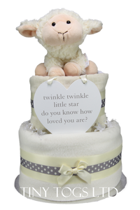 Neutral Two Tier Nappy Cake with a Cute Baby Lamb - Tiny Togs Ltd