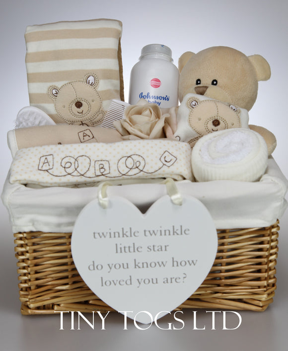 Neutral Gift Basket Hamper with a 7 Piece Layette set and a Cute Teddy - Tiny Togs Ltd