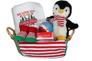 My First Christmas Gift Basket with Cute Plush Penguin - Tiny Togs Ltd