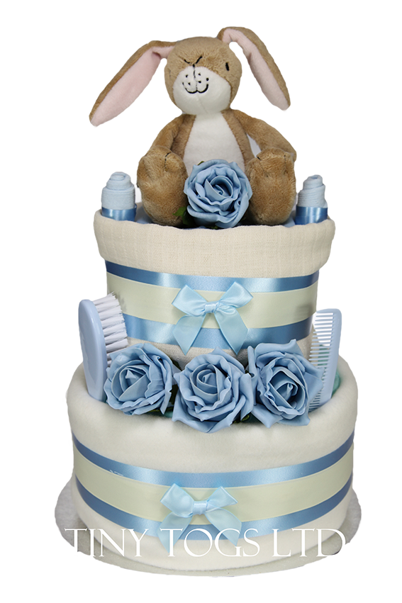 Baby Boy Two Tier Nappy Cake with Guess How Much I Love You Nutbrown Hare - Tiny Togs Ltd