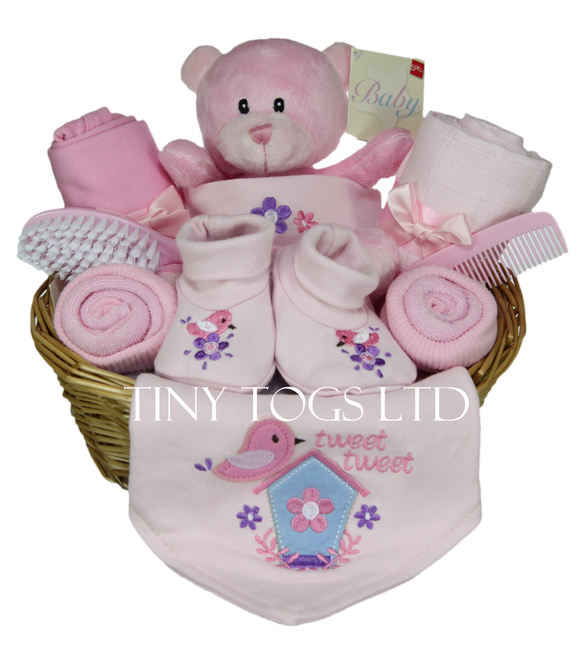 Handmade Newborn Baby Girl Gift Basket with Cute Teddy - Tiny Togs Ltd