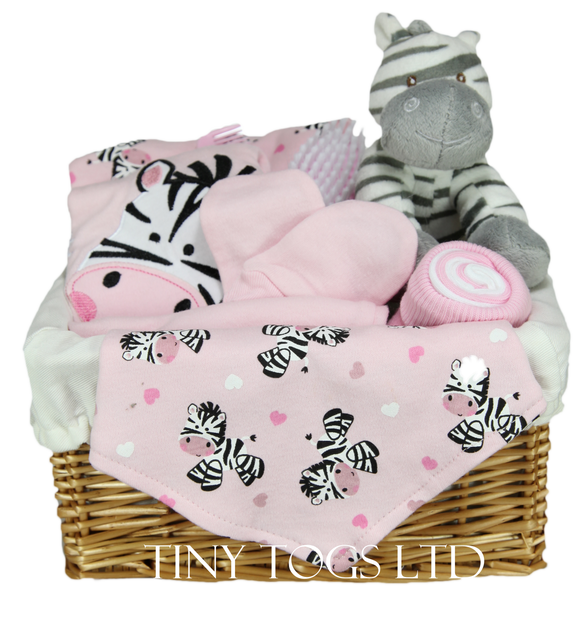 Baby Girl Gift Basket Hamper with a 5 Piece Layette set and a Cute Zebra Soft Toy - Tiny Togs Ltd