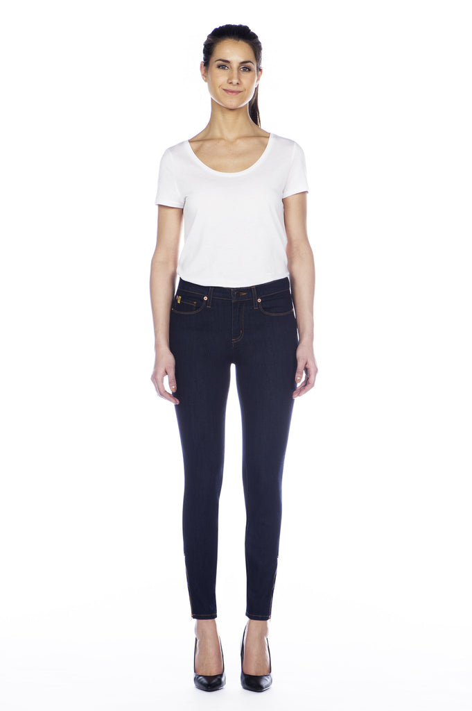 High Rise Skinny Jean with Ankle Zip - Rinse Indigo