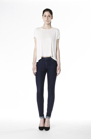 High Rise Skinny Jean with Ankle Cuff - Rinse Indigo