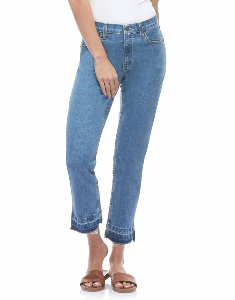 CHLOE - Classic Rise Slim Jeans Cropped w. Slits in Hotline