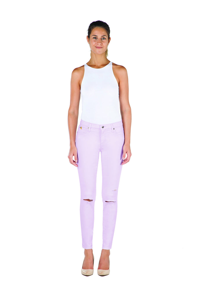 High Rise Skinny Ankle Jean with Rip - Tulip