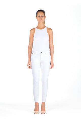 High Rise Skinny Ankle Jean - White