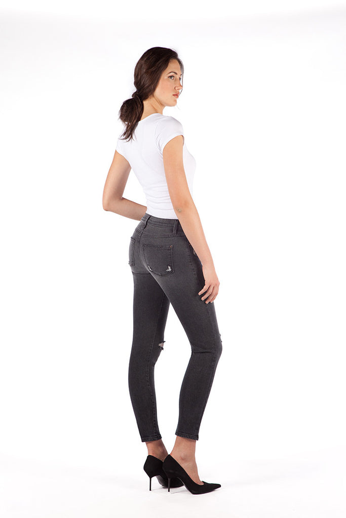 High Rise Skinny Ankle Jean - Boston Grey