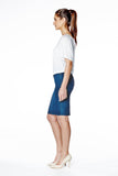 High Rise Skinny Denim Pencil Skirt - Classic Blue