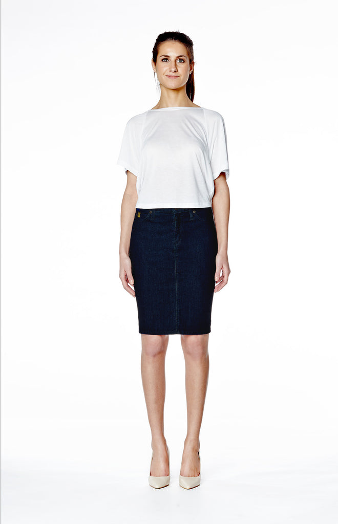 High Rise Skinny Denim Pencil Skirt - Rinse Indigo
