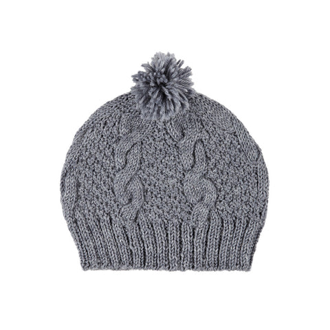 Acorn Cable Knit Beanie - Grey