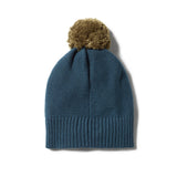 Wilson and Frenchy Steel Blue Knitted Hat with Pom Pom
