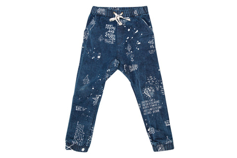 Zuttion Slouch Pants - Artwork Blue