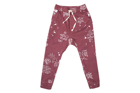 Zuttion Slouch Pants - Artwork Maroon