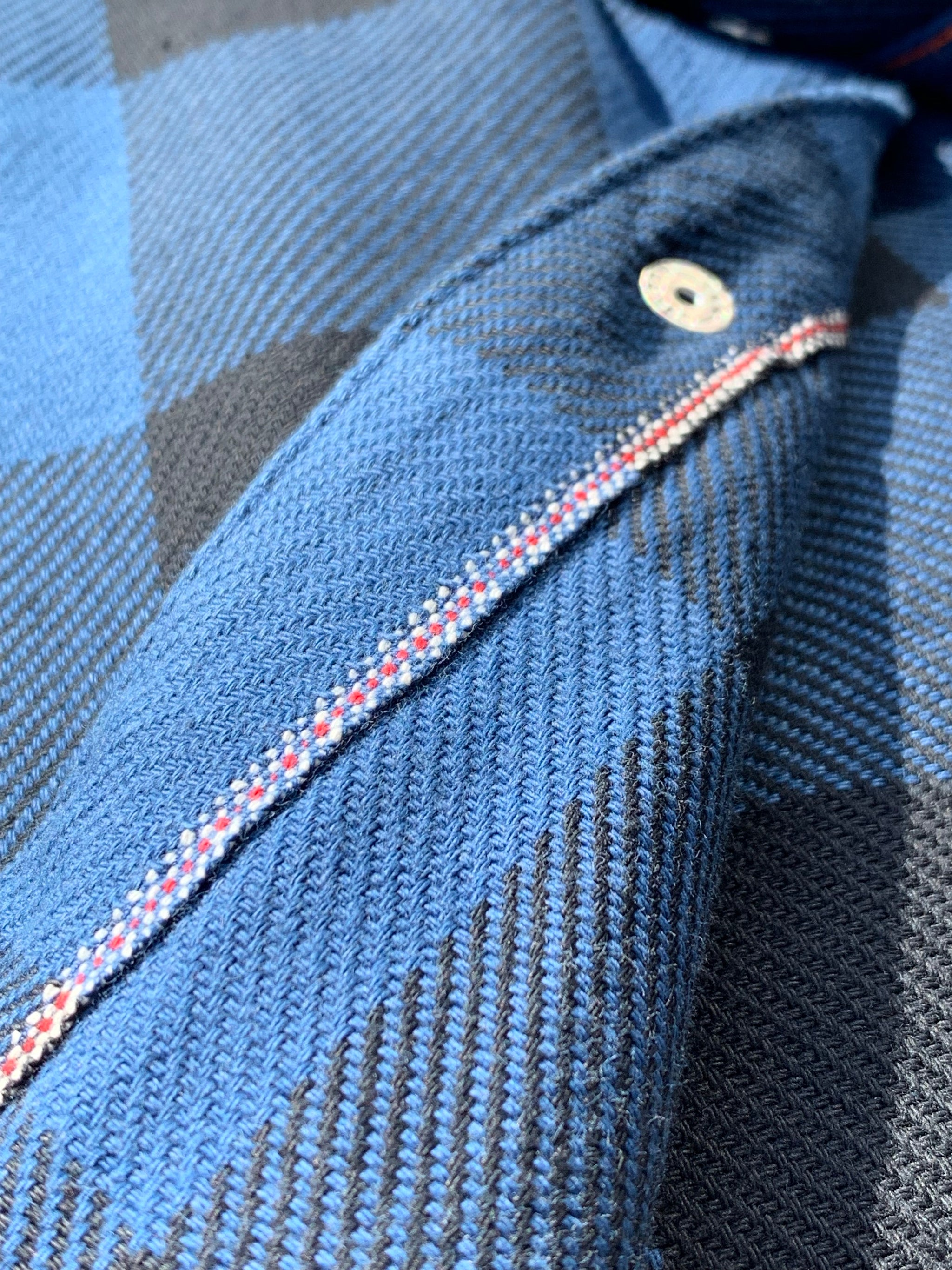 Iron Heart - IHSH-219 Indigo Block Check Flannel Western