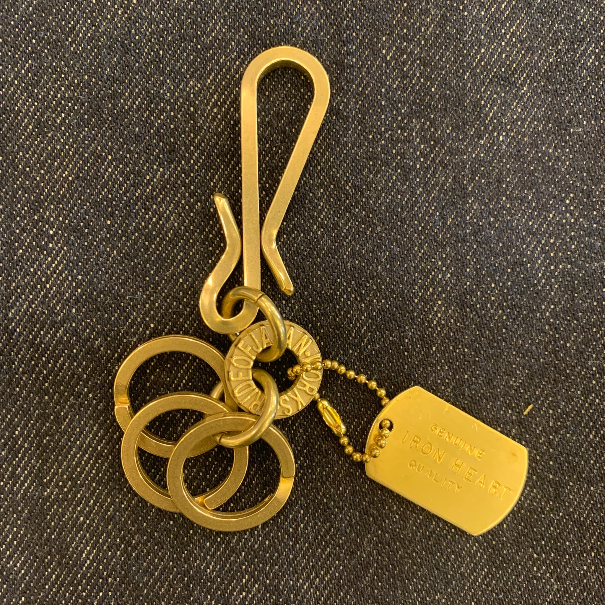 Iron Heart - Brass Key Hook with Rings