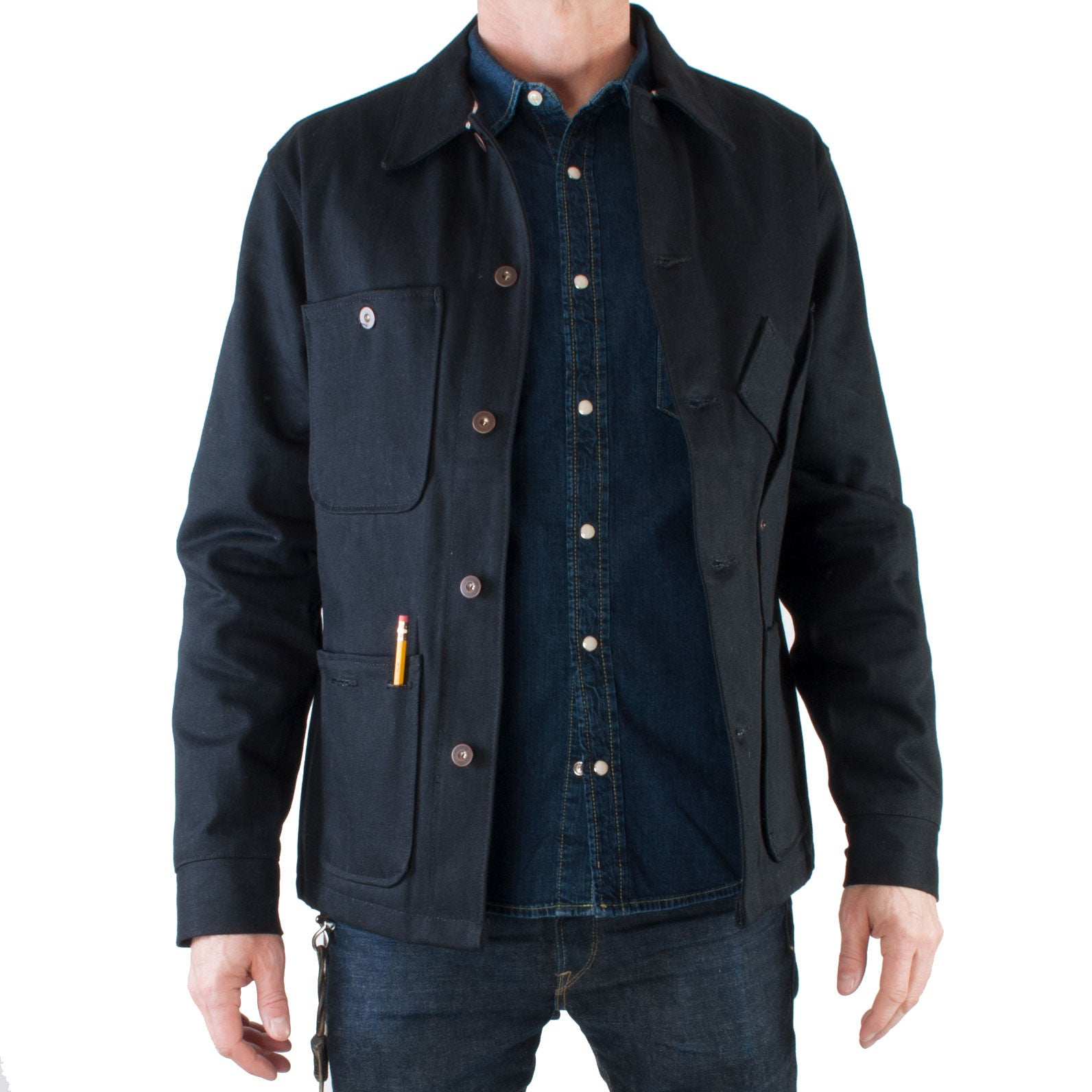 Tellason Coverall Jacket Japanese Selvedge Denim (Black) - Brund - 2