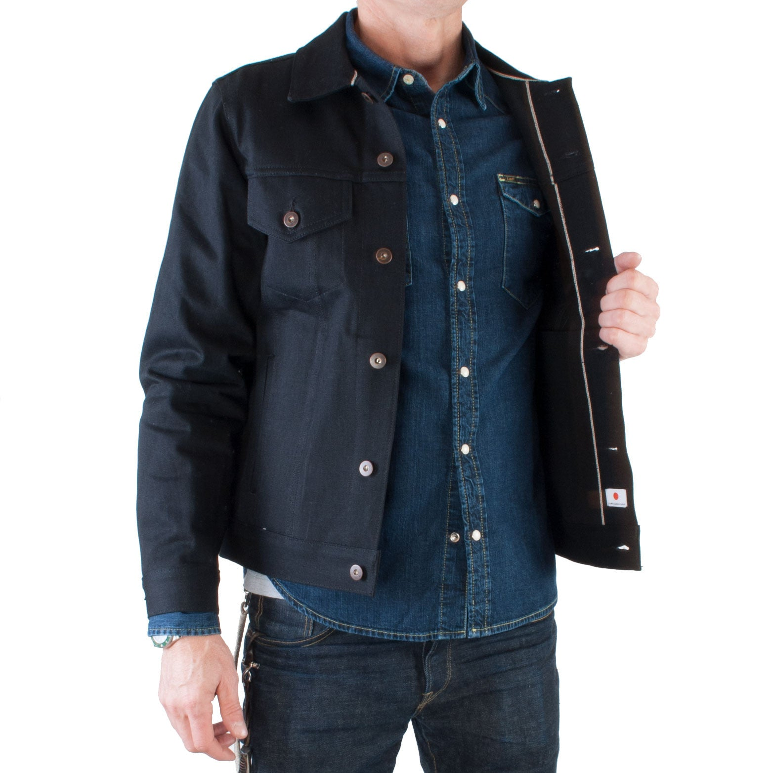 Tellason - Japanese Selvage Denim Jacket, 13.5 oz (Black) - Brund - 2