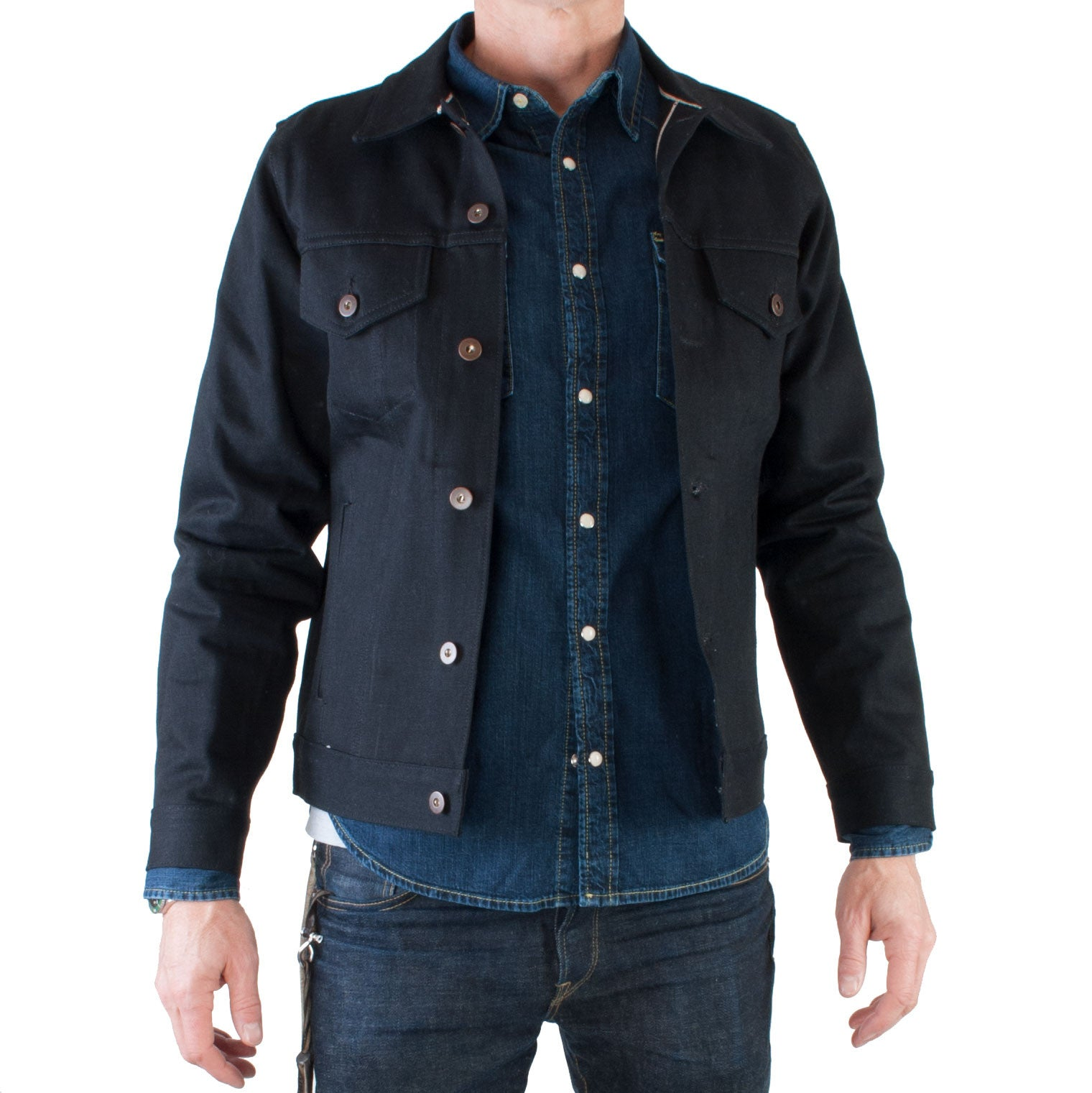 Tellason - Japanese Selvage Denim Jacket, 13.5 oz (Black) - Brund - 1