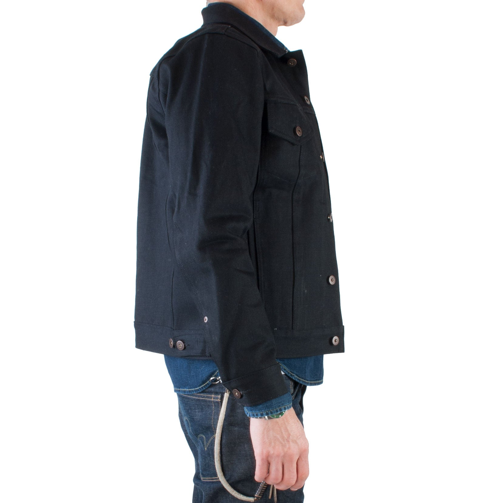 Tellason - Japanese Selvage Denim Jacket, 13.5 oz (Black) - Brund - 3
