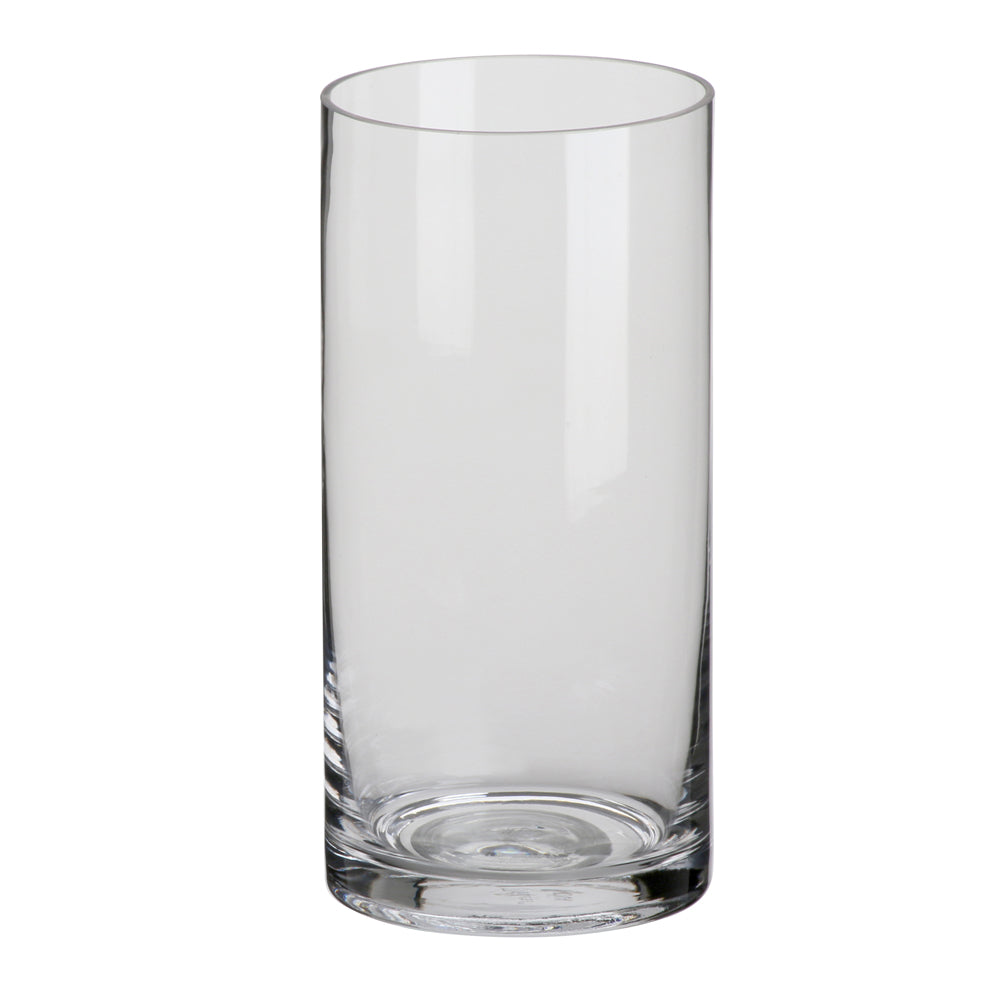 Clear Cylindrical Glass Vase - 21cm