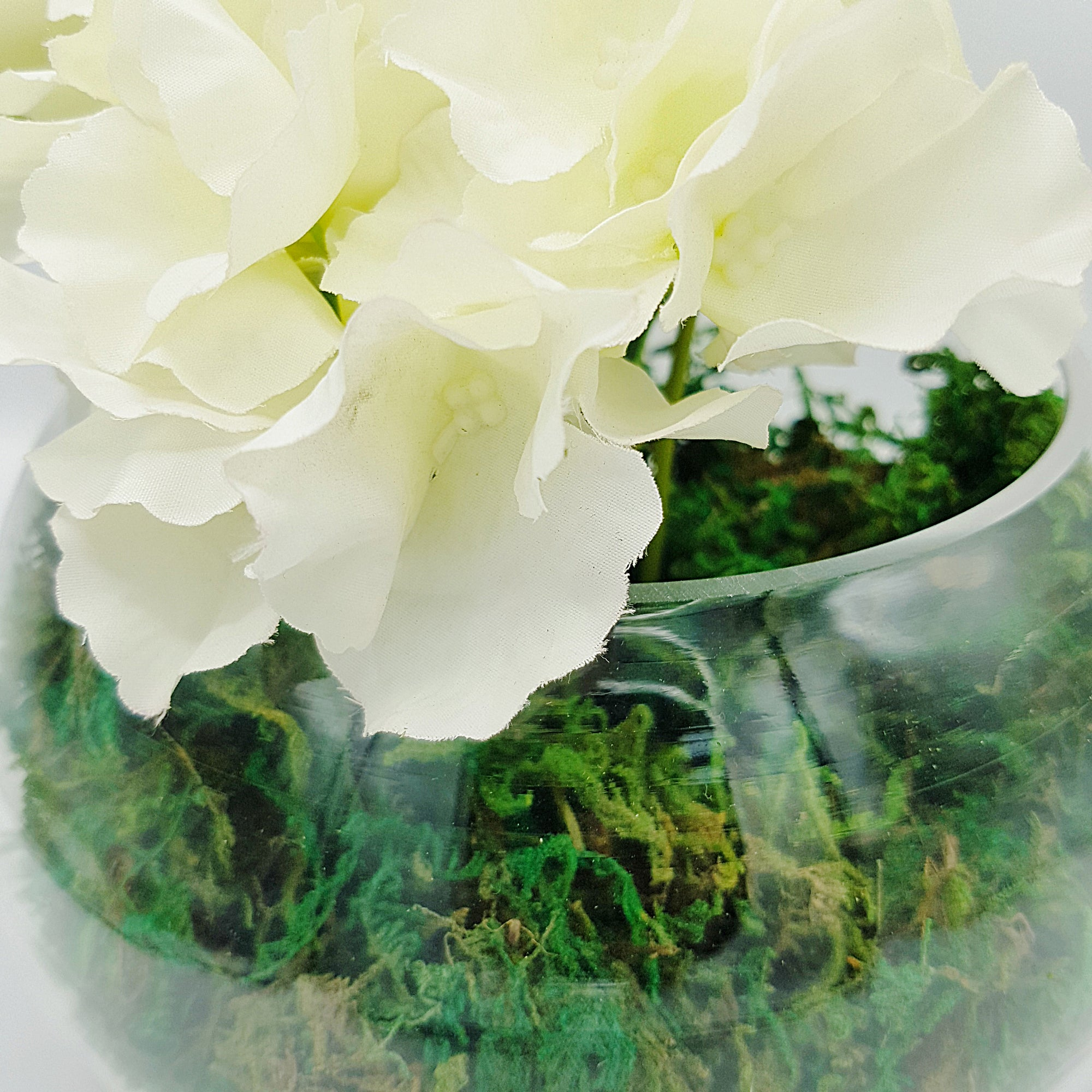 White Flower & Moss Arrangement in Round Glass Vase