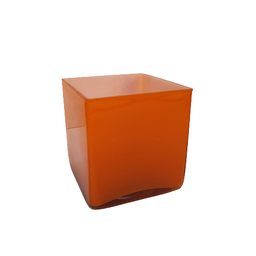 Orange Square Glass Table Vase - 13.5cm tall