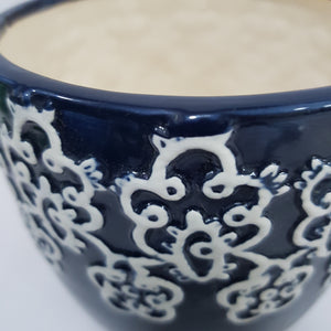Black Vase with White Detailing - Ceramic