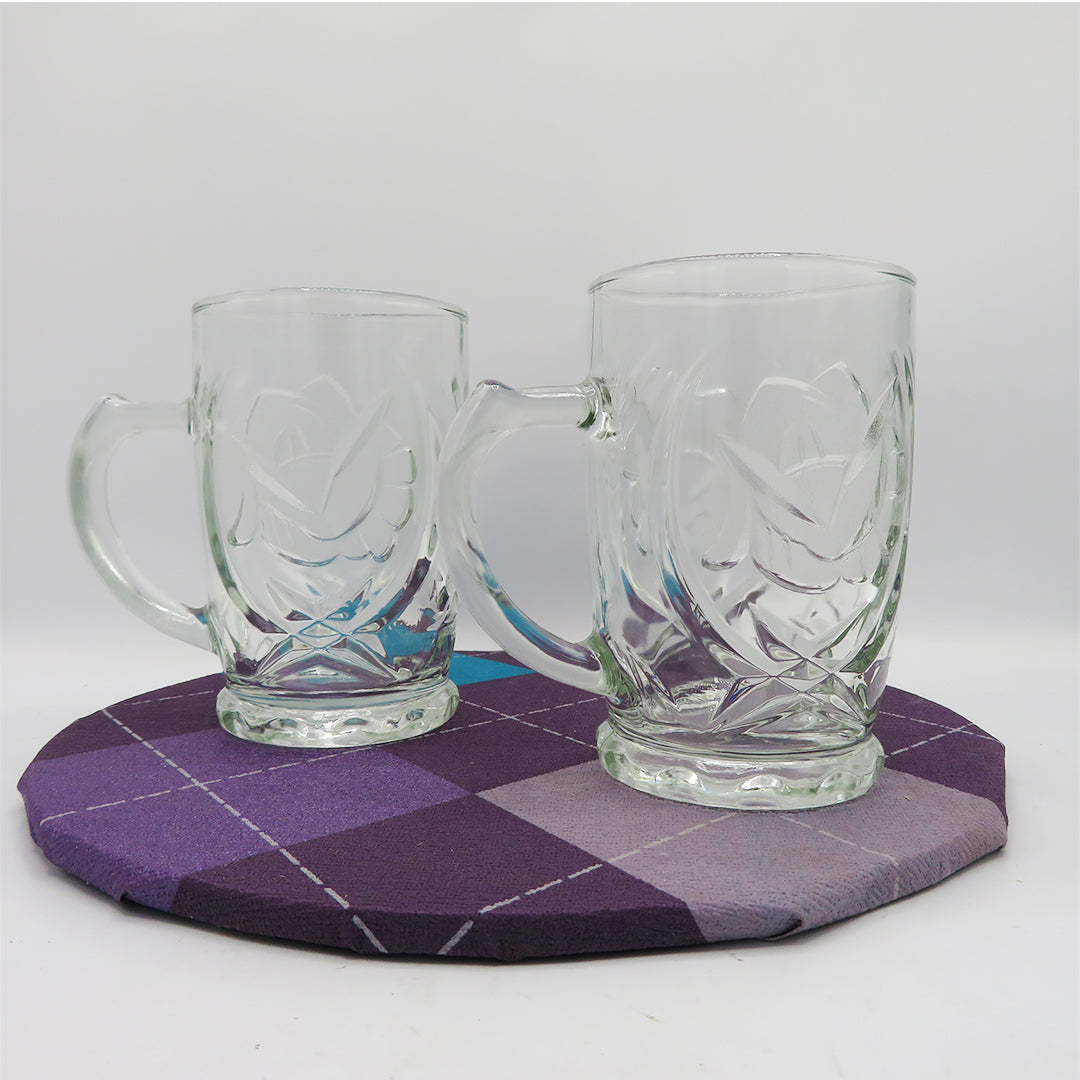 Set of 2 Detail Glass Mugs - PreLoved -Home Declutter