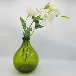 Heavy Green Glass Vase - 23cm