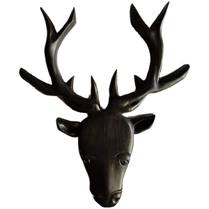 Crafted Deer Head - Wood - Black