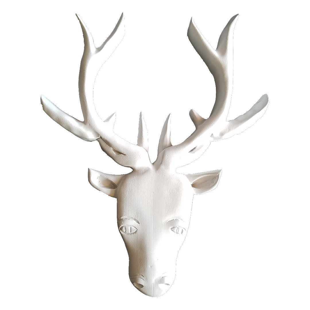Crafted Deer Head - Wood - White