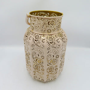 Metal Lace Tea light Candle Holder Lantern Baby Pink