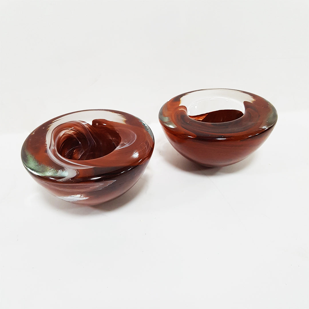 Pair of Brown Glass Tea Light Candle Holders Heavy